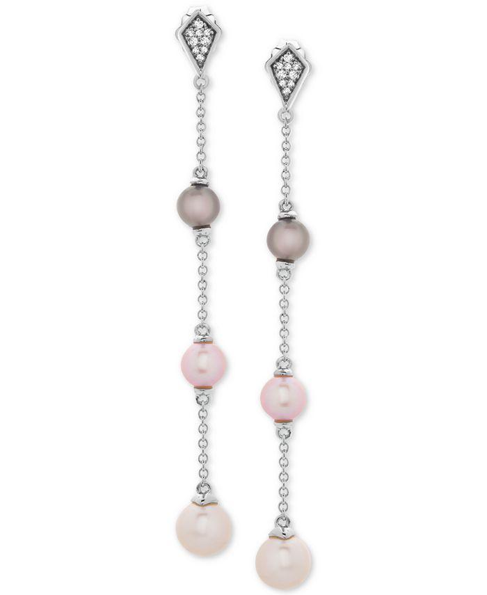 Macy's - Cultured Freshwater Pearl (6, 7 & 8mm) & Diamond Accent Drop Earrings in Sterling Silver