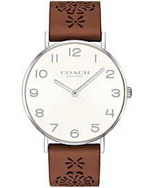 COACH Women's Perry Brown Leather Strap Watch 36mm