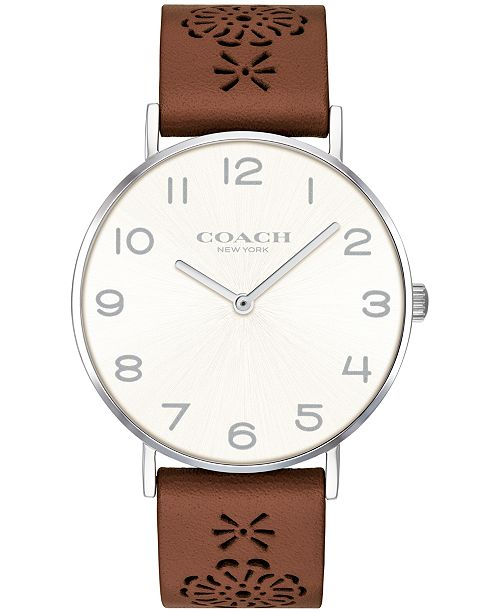 ... COACH Women s Perry Brown Leather Strap Watch 36mm Created for Macy s  ... a3500925a90e1