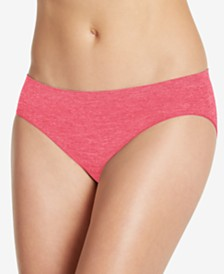 Jockey Smooth and Shine Seamfree Heathered Bikini Underwear 2186, available in extended sizes