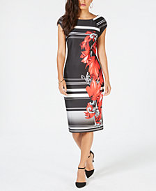 Thalia Sodi Printed Scuba Sheath Dress, Created for Macy's