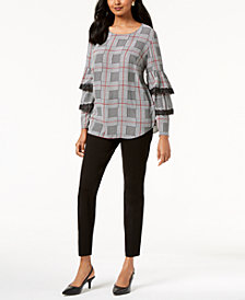 Alfani Ruffled-Sleeve Top & Skinny Pants, Created for Macy's