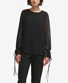 DKNY Sheer-Sleeve Blouse, Created for Macy's