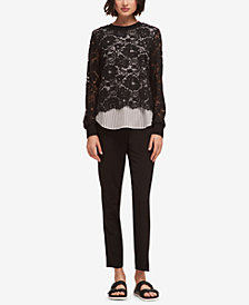 DKNY Layered-Look Lace Striped Top, Created for Macy's