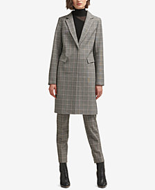 DKNY Plaid One-Button Coat, Created for Macy's