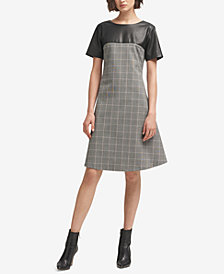 DKNY Faux-Leather Plaid A-Line Dress, Created for Macy's