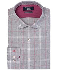 Original Penguin Men's Heritage Slim-Fit Comfort Stretch Brushed Plaid Dress Shirt