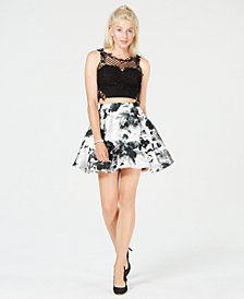 City Studios Juniors' 2-Pc. Lace & Floral-Print Dress