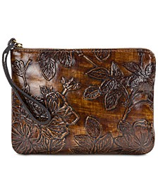 Bark Leaves Cassini Embossed Leather Wristlet, Created for Macy's