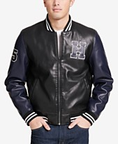 70aa4403 Tommy Hilfiger Men's Big & Tall Faux-Leather Varsity Jacket, Created for  Macy's