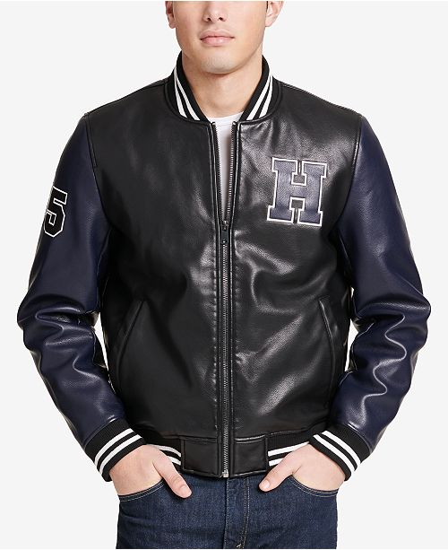 20e0fc9f1 Tommy Hilfiger Men's Big & Tall Faux-Leather Varsity Jacket, Created ...