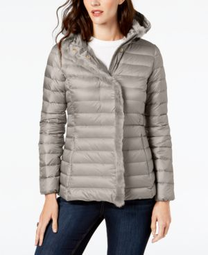 SIGNATURE FAUX-FUR-TRIM DOWN PUFFER COAT