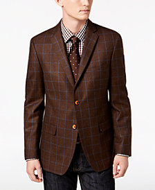 Tallia Men's Slim-Fit Brown/Blue Windowpane Wool Sport Coat