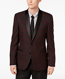 Men's Slim-Fit Stretch Burgundy Plaid Dinner Jacket