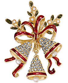 Holiday Lane Gold-Tone Pavé & Epoxy Bells and Ribbon Pin, Created for Macy's