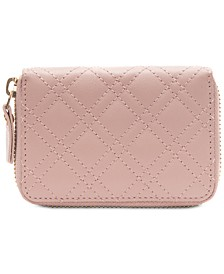 Quilted Leather Mini Zip-Around Wallet
