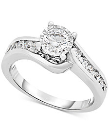 TruMiracle® Diamond Swirl Bypass Engagement Ring (1 ct.t.w.) in 14k White Gold