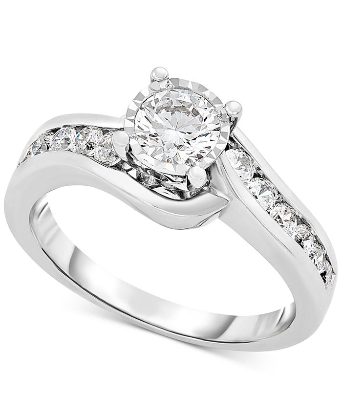 Macy's - Diamond Bypass Engagement Ring (1 ct. t.w.) in 14k White Gold