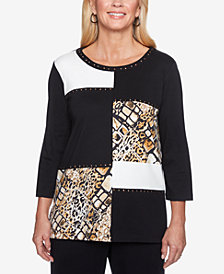Alfred Dunner Travel Light Cotton Colorblock Top