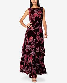 Tahari ASL Layered Floral-Print Velvet Gown
