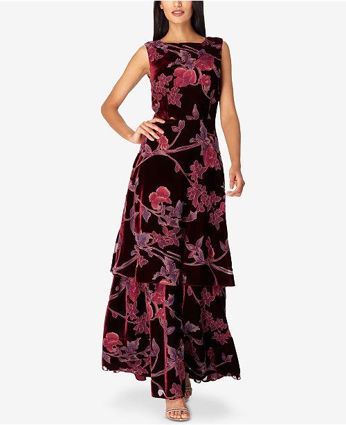 fcd26b1ba5 Tahari ASL Layered Floral-Print Velvet Gown   Reviews - Dresses ...