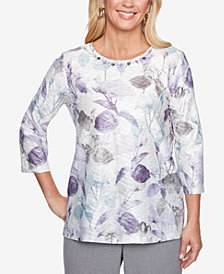 Alfred Dunner Smart Investments Embellished Printed Top