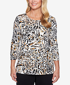 Alfred Dunner Petite Travel Light Pleat-Neck 3/4-Sleeve Top