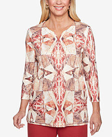 Alfred Dunner Petite Sunset Canyon Printed Studded Top