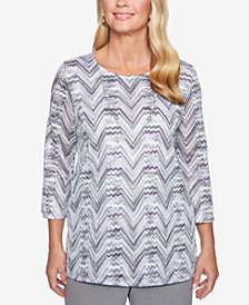 Alfred Dunner Petite Smart Investments Textured 3/4-Sleeve Necklace Top