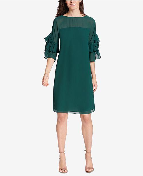Vince Camuto Ruffle-Sleeve Sheath Dress - Dresses - Women - Macy s 41e114ea40