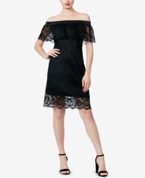BETSEY JOHNSON Lace Off-The-Shoulder Button-Back Dress in Black