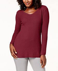 Karen Scott Petite Textured-Knit Sweater, Created for Macy's