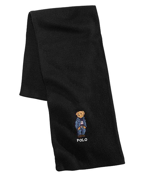 Polo Ralph Lauren Men's Blue Jean Polo Bear Scarf