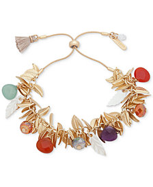 lonna & lilly Gold-Tone Leaf & Multicolor Bead Bolo Bracelet