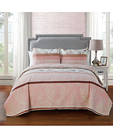 VCNY Home Ashley 3-Pc. Floral Stripe King Quilt Set