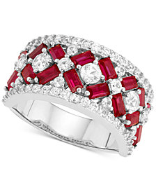 Cubic Zirconia Simulated Ruby Cluster Statement Ring in Sterling Silver