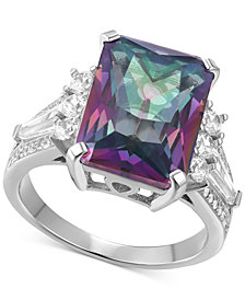 Cubic Zirconia Iridescent Stone Statement Ring in Sterling Silver
