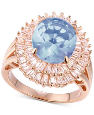 Cubic Zirconia Simulated Aquamarine Baguette Statement Ring in 14k Rose Gold-Plated Sterling Silver
