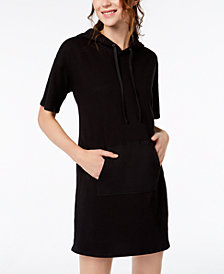Material Girl Juniors' Short-Sleeve Hoodie Dress, Created for Macy's