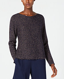 Eileen Fisher Wool Blend Long-Sleeve Fringe-Hem Sweater