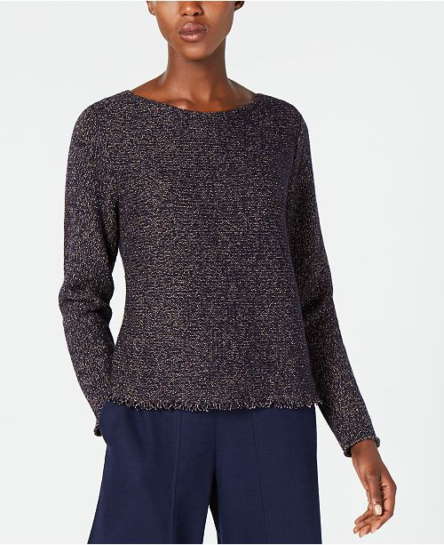 Sleeve Fringe Sweater Eileen Fisher Wool Blend Hem Midnight Long xafqaC
