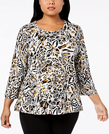 Alfred Dunner Plus Size Travel Light Embellished Top