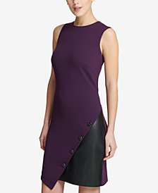 DKNY Asymmetrical Colorblocked Sheath Dress, Created for Macy's