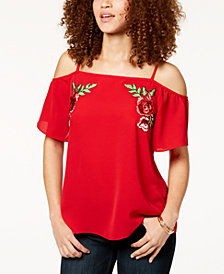 BCX Juniors' Embroidered Applique Off-The-Shoulder Top