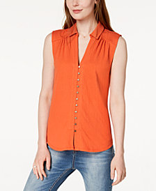 Lucky Brand Button-Down Sleeveless Shirt