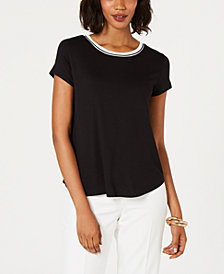 Alfani Petite Striped-Trim T-Shirt