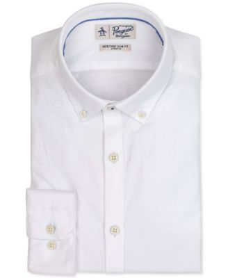 Original Penguin Mens Long Sleeve Solid Oxford Stretch Slim Fit Shirt White