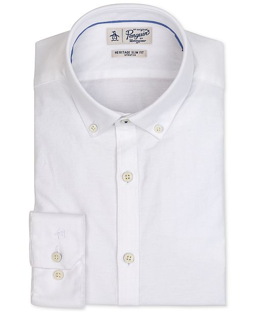 Original Penguin Men's Heritage Slim-Fit Comfort Stretch Solid Oxford Dress Shirt