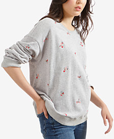Lucky Brand Embroidered Floral Sweatshirt