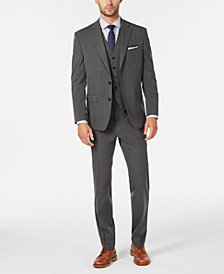 Club Room Men's Classic/Regular Fit Stretch Solid Vested Suit, Created for Macy's